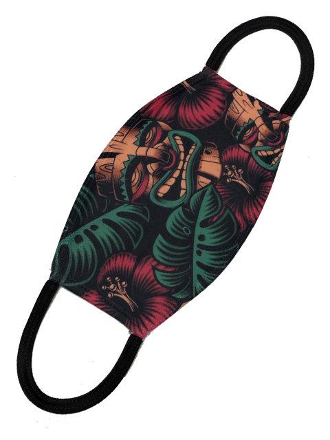 Tiki Love black, Mund-Nasen-Maske