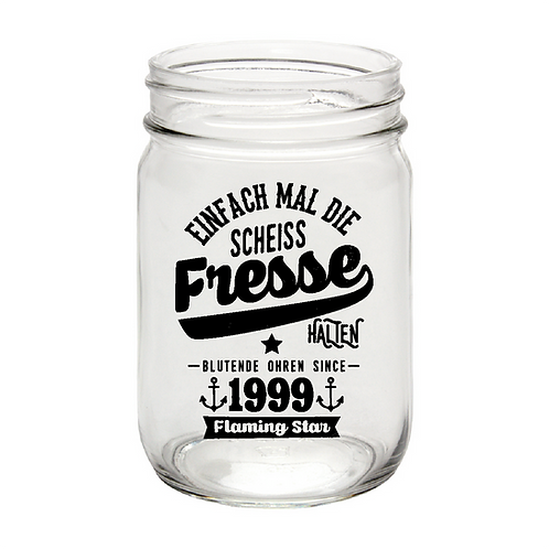 Fresse halten, mason jar