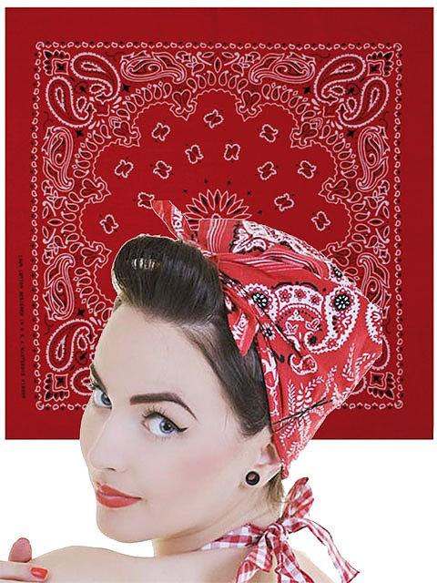 Paisley Bandana, red/white