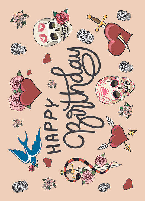 Tattoo Birthday, Postkarte
