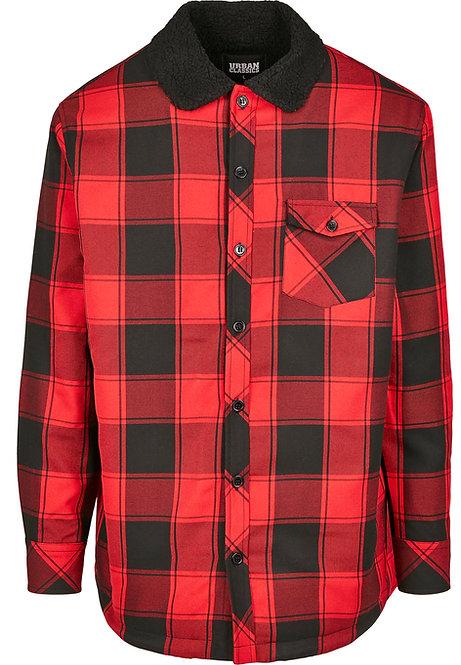 Sherpa Shirt Jacket, black/red