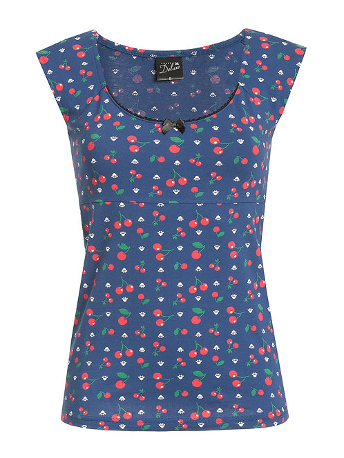 Pussy Deluxe Cat Paws & Cherries Girl Shirt, blue allover