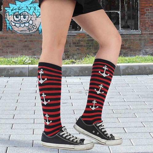 Ladies Stripy Anchor Socks