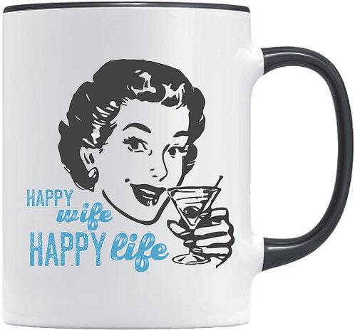 Happy Wife Happy Life, white/black