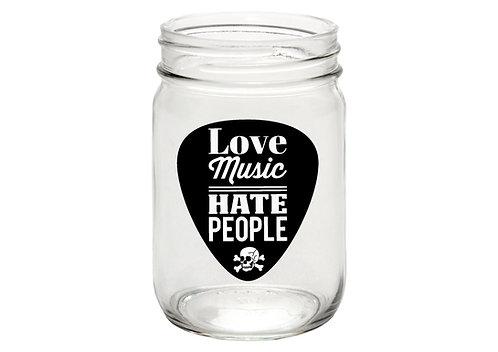 Love Music - Hate People, mason jar