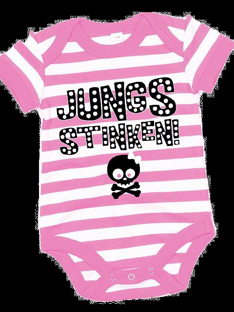 Flaming Star Jungs stinken,  stripy pink/white