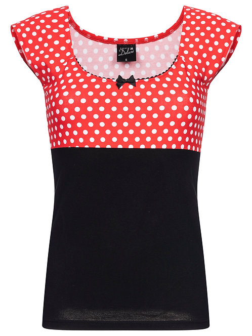 Pussy Deluxe Shirt Polka, red/black