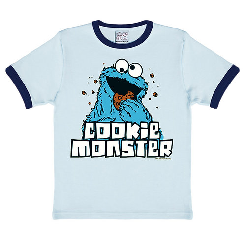 Logoshirt Cookie Monster, ringer blue