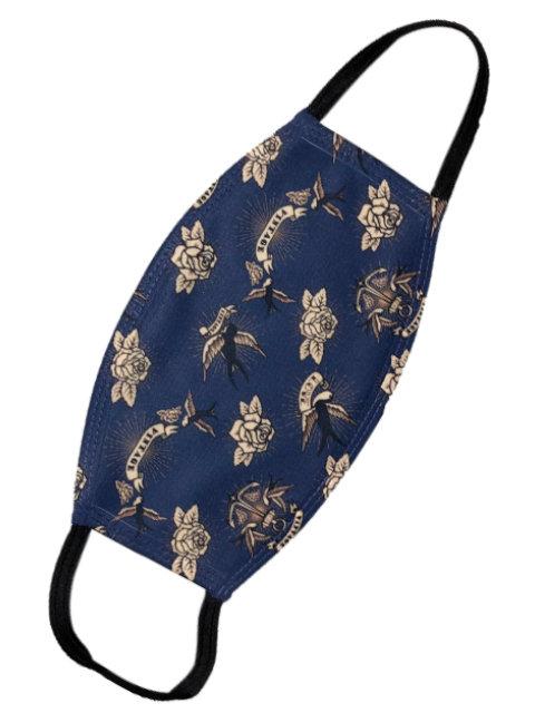Vintage Swallow Love blue, Mund-Nasen-Maske
