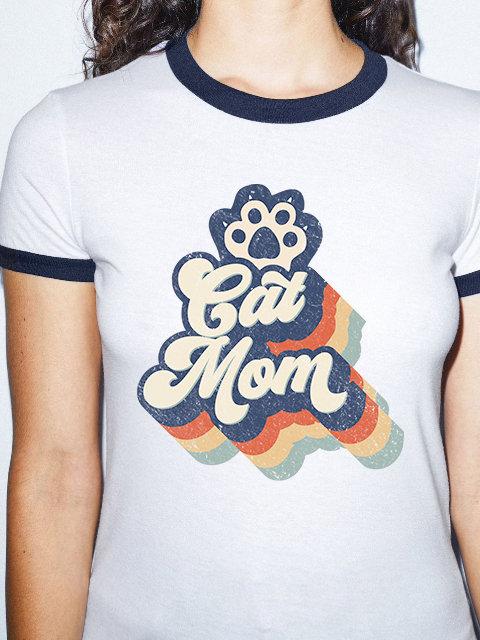 Cat Mom, Girl Ringer white/navy