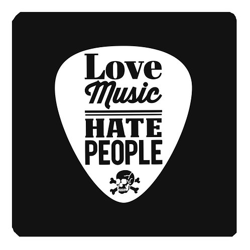 Love Music Hate People Coaster, black