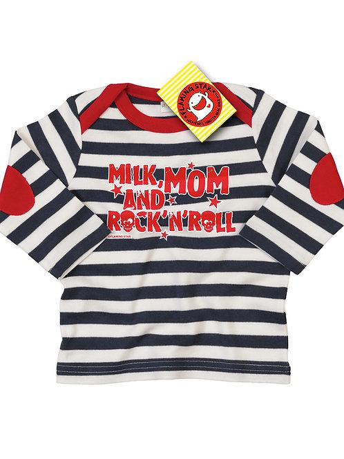 Flaming Star Milk Mom... stripy navy/white