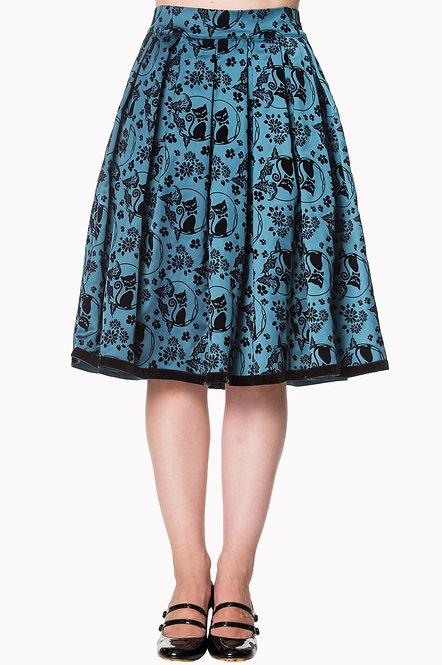 BANNED Cat Love Skirt, teal/black