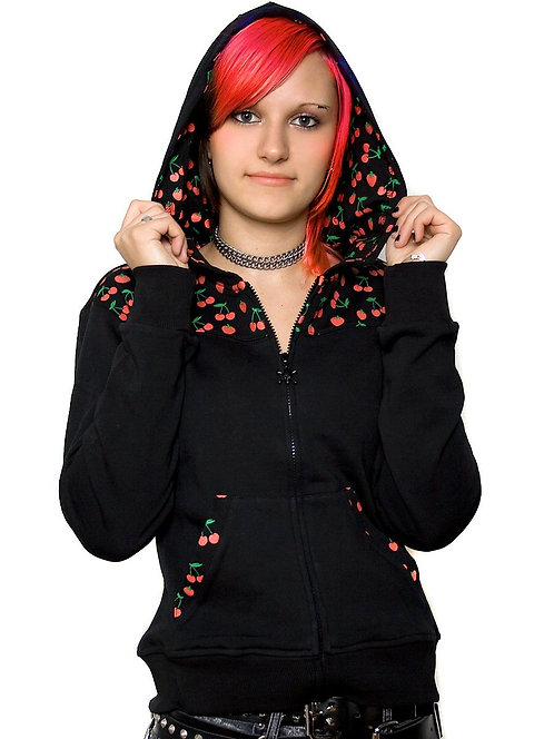 Cherry Love, Hooded Jacket, black