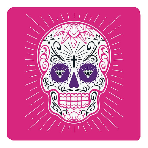 Mexican Skull Coaster, pink
