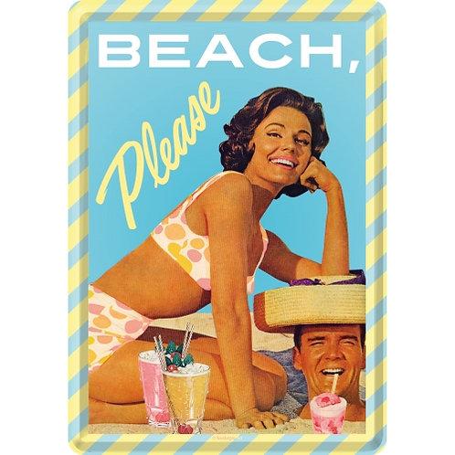 Beach Please, Blechpostkarte