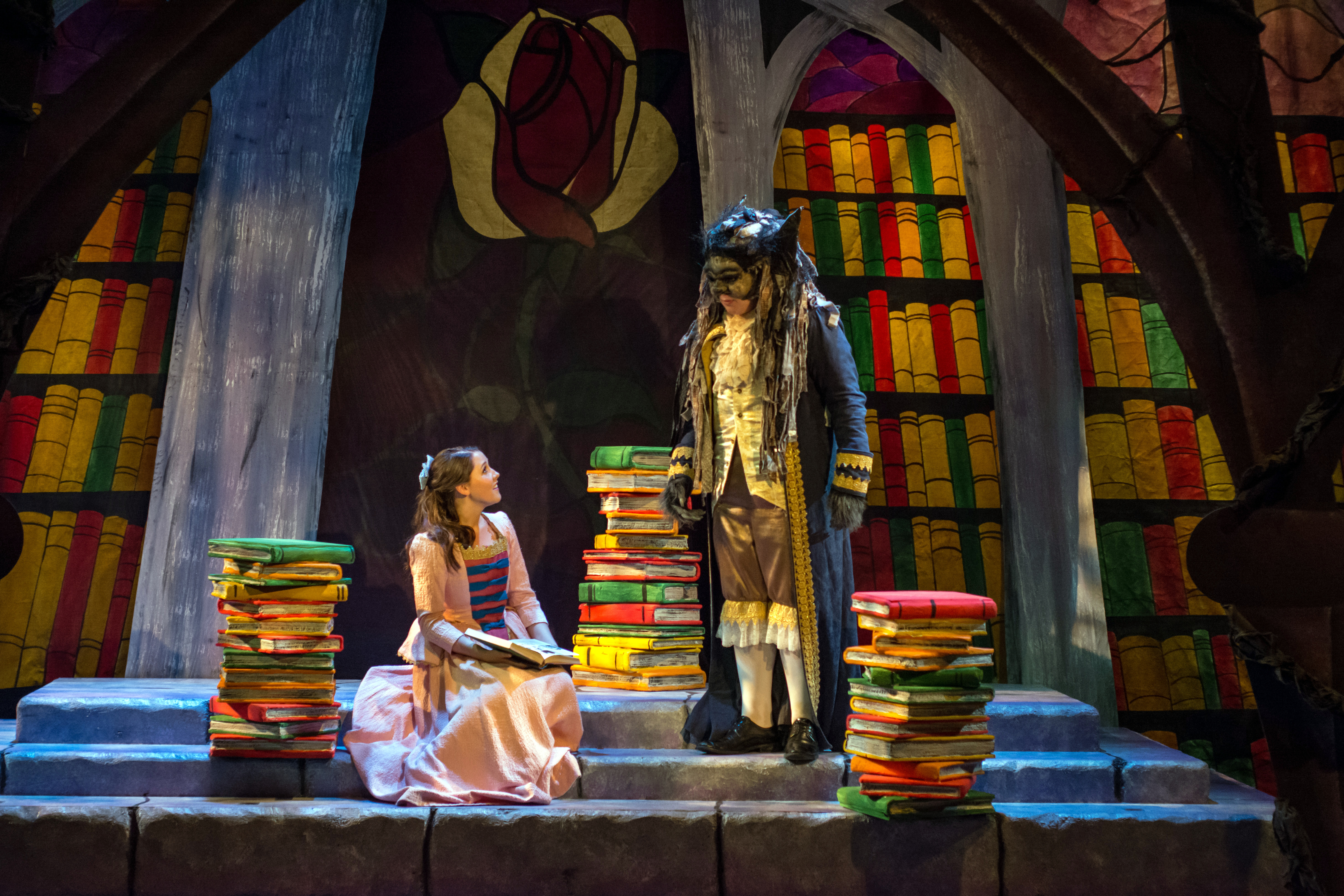 Belle and Beast in the Library