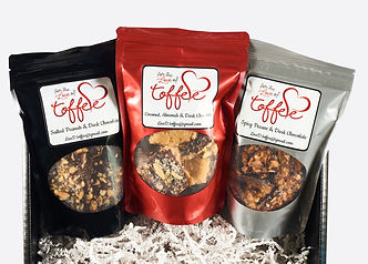 For the Love of Toffee comes in three unique flavors. Salted peanuts & dark chocolate, Coconut & almonds & dark chocolate, Spicy pecan & dark chocolate.