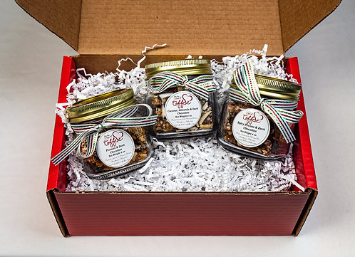 Variety package of 3 mason jars. 4 oz (.25lbs) each jar. Choose your own ribbon.