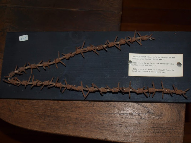 Entanglement wire left in Norway by the German army during WWI.  This wire is so hard the ordinary wire cutter will not cut it.  This piece of wire was brought back by local residents.