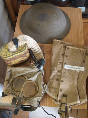 Helmet, Spats and Gas Mask – WWI