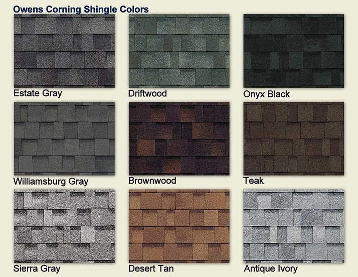 Owens Corning colour board local roofing company