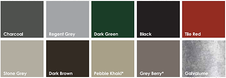 colour chart- Local metal Roofing can be done in charcoal, gry, brown, black, red