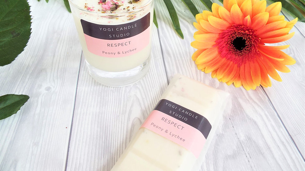 Respect - Peony & Lychee Scented Soy Candle & Wax Melt
