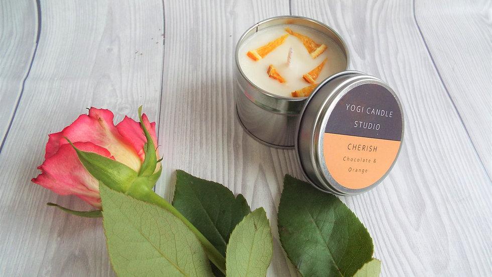 Cherish - Chocolate & Orange Soy Candle Tin