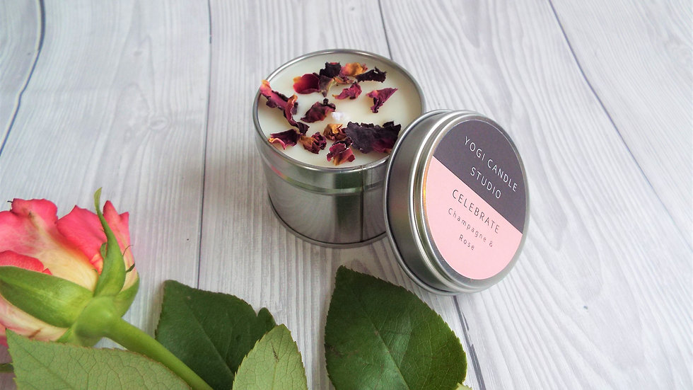 Celebrate - Champagne and Roses Soy Candle Tin