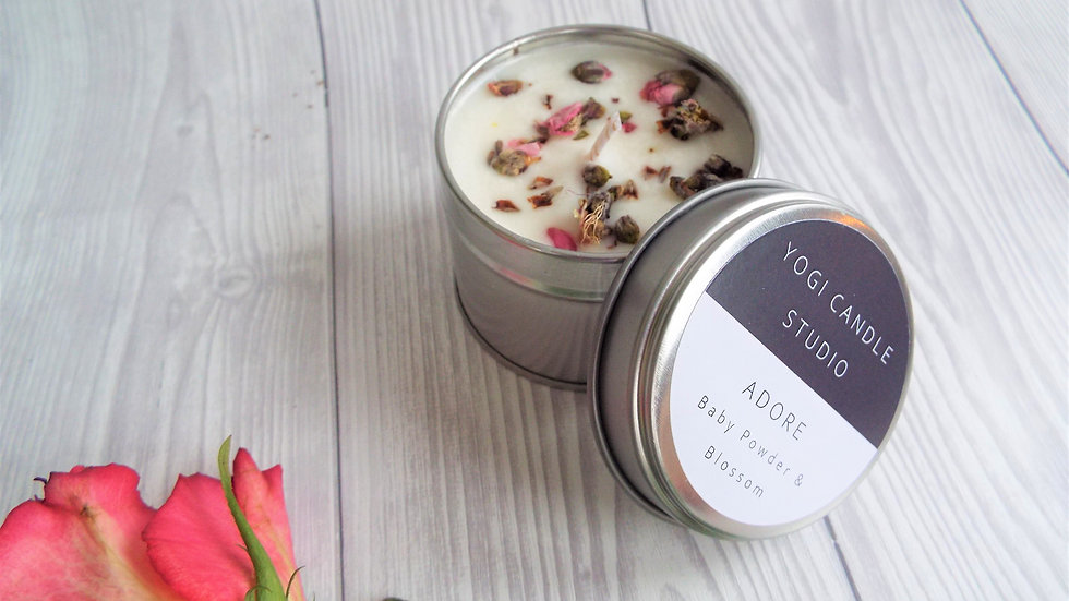Adore - Baby Powder & Blossom Soy Candle Tin