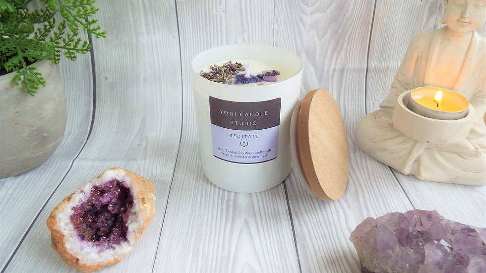 Meditate - French Lavender & Amethyst Soy Candle