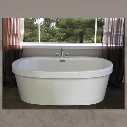 MIROLIN IND CORP Brook Acrylic Freestanding Center-Drain Oval Soaker Bathtub