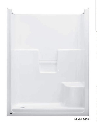 "Model S602/03 Barrett(TM) 60"" x 36"" Shower with Left-Hand Seat, White"