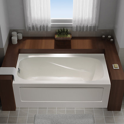 MIROLIN IND CORP Right-Drain Rectangular Soaker Bathtub in White