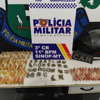 Polícia Militar apreende drogas e dinheiro de facção criminosa em Sinop