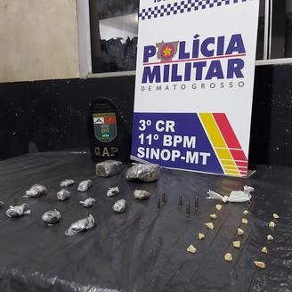 Polícia Militar prende rapaz por tráfico de drogas em Sinop; a droga estava enterrada no quintal da
