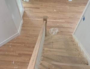 Red oak floor before refinishing and stain