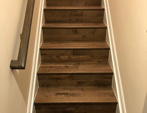 New stairs covered with maple hardwood