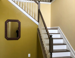 Dark tread stair with white raisers
