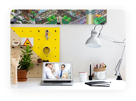 Bright office environment mockup with Ma