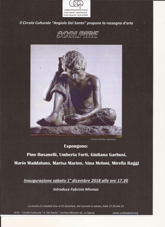 """SCOLPIRE"" introduce Fabrizio MISMAS espongono Pino Busanelli,Umberta Forti,Giuliana Garbu"