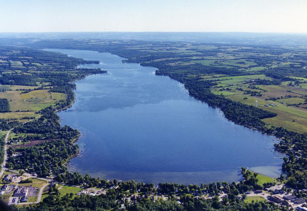 aerial view of conesus lake