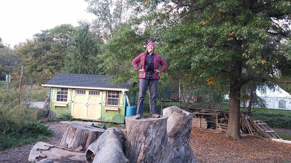 FLM&A Program Director Debbie on a stump at Ithaca Children's Garden