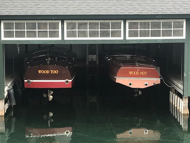 Two boats in a boathouse
