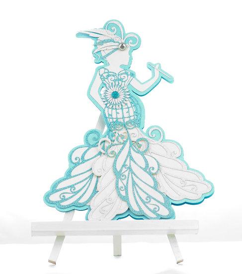 Handmade Lady Card | Blue | Card Closed | Arzu Ziegler | Lower Hutt | NZ