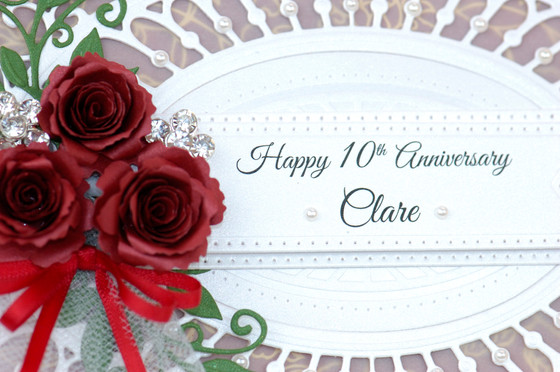 10th wedding anniversary card with paper flowers