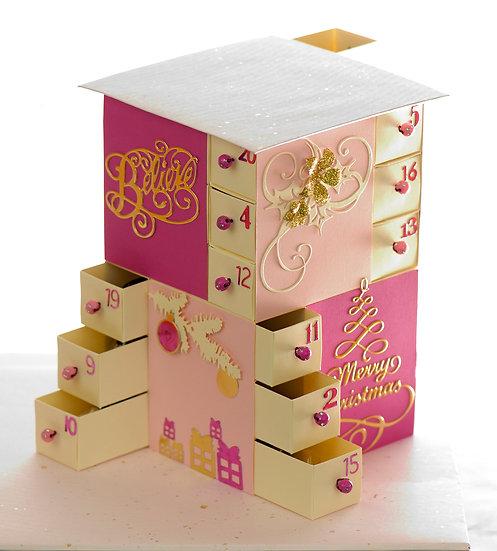 Handmade Advent Calendar | 24 drawers | Pink Blush colour theme | Paper art