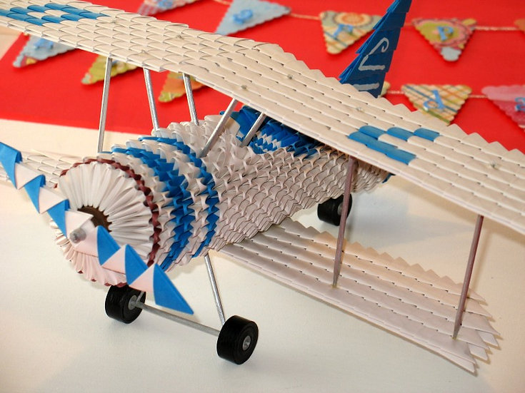Origami Golden Venture Biplane | Living Paper Gifts | NZ | Front-Side view