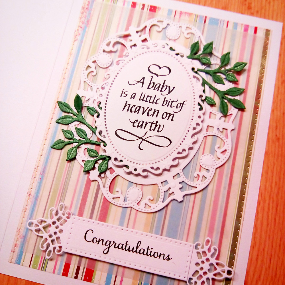 A baby is a little bit of heaven on earth - handmade card